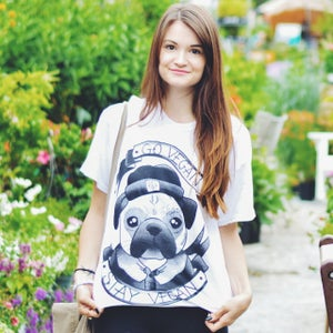 Image of GO VEGAN PUG T-SHIRT