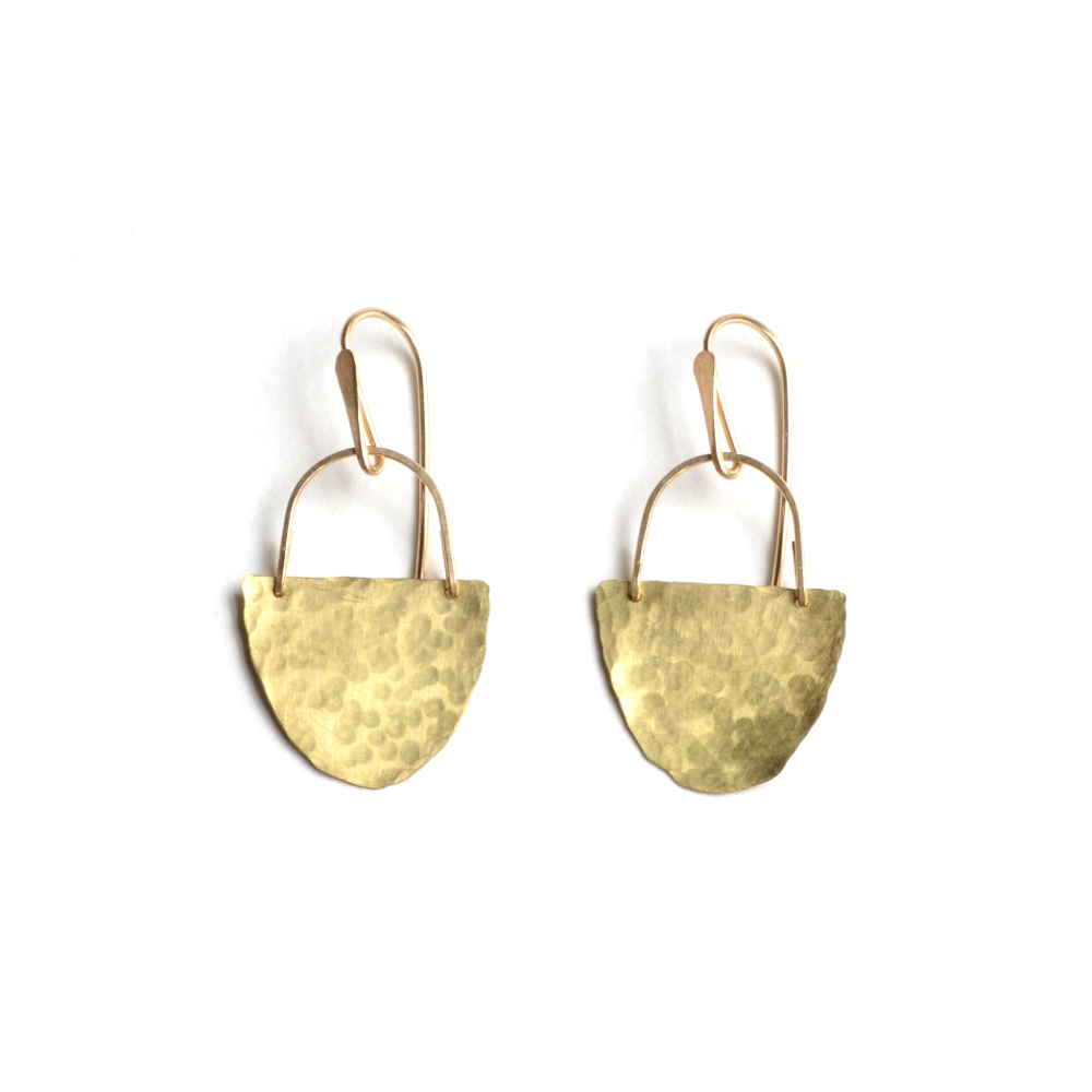Image of Brass Half Disk Earrings