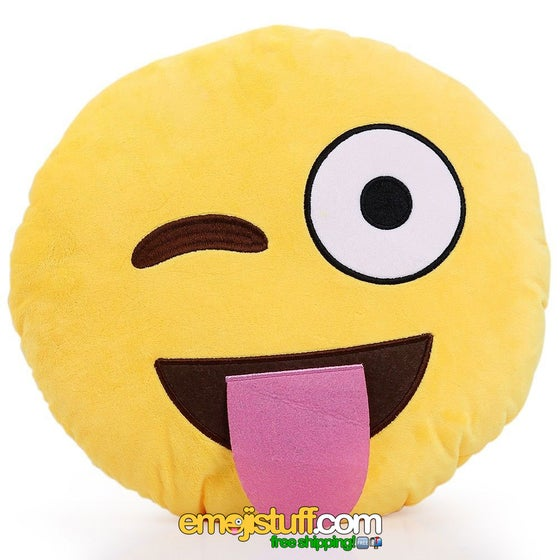 "Image of Sticking Out Tongue and Winking Crazy Face Emoji Pillow - 13"" Soft Plush"