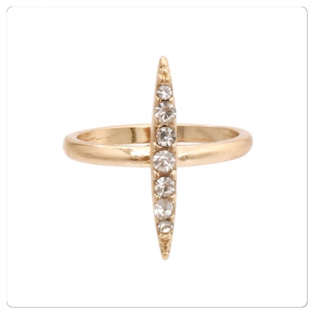 Image of Vertical Crystal Midi Ring