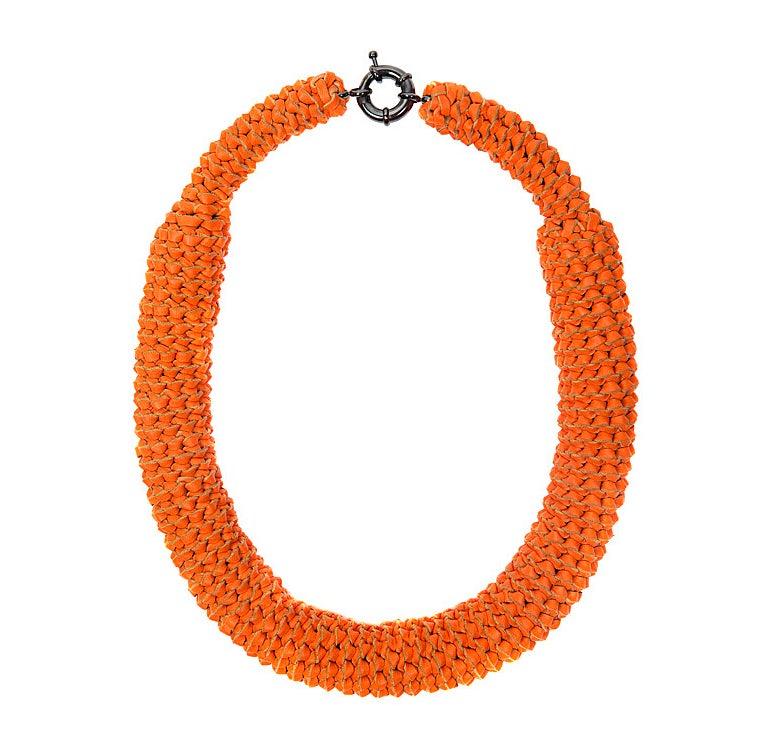 """Image of """"Sunburst"""" Orange Oversized Leather Neckpiece"""
