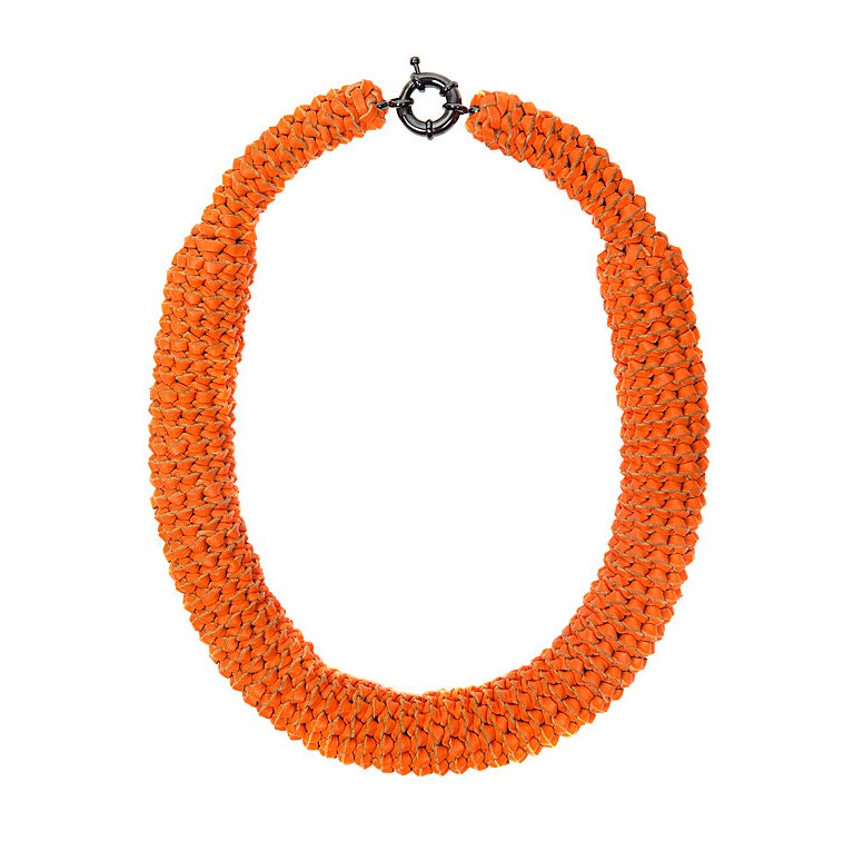 "Image of ""Sunburst"" Orange Oversized Leather Neckpiece"