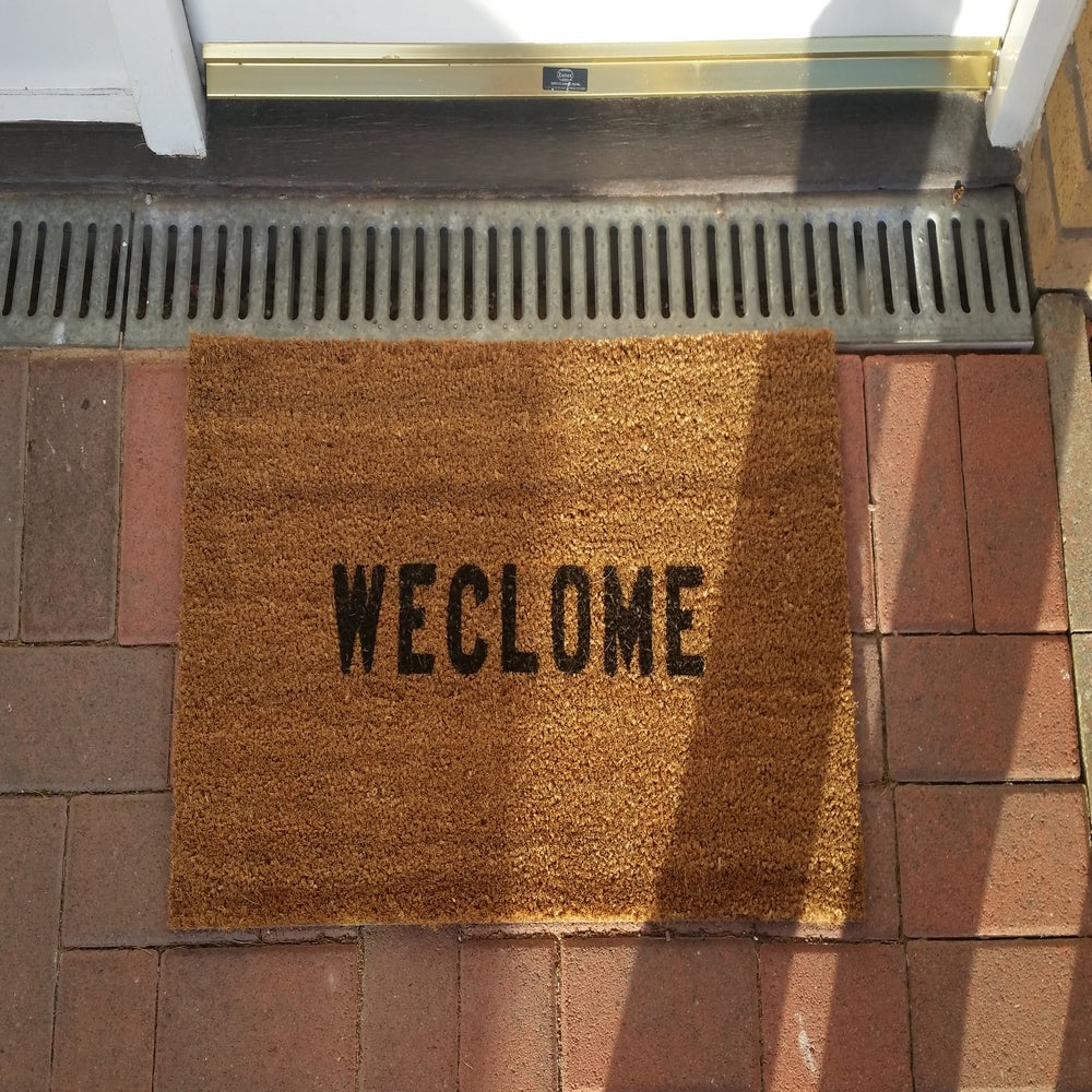 Stencilled Coir Door Mat 70 X 40 Weclome Internal Coconut