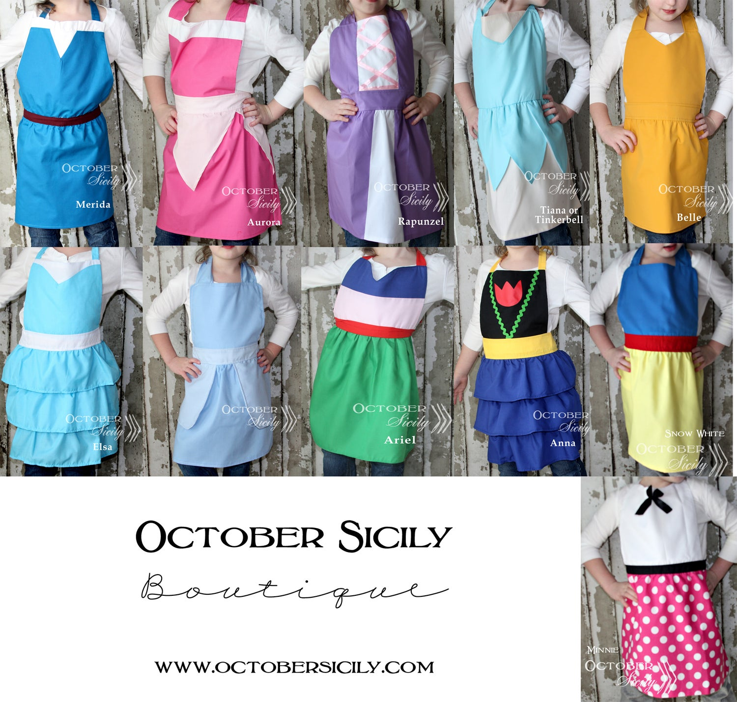 Image of Princess Inspired Girl & Mom Aprons, Dress Up, 9 Styles