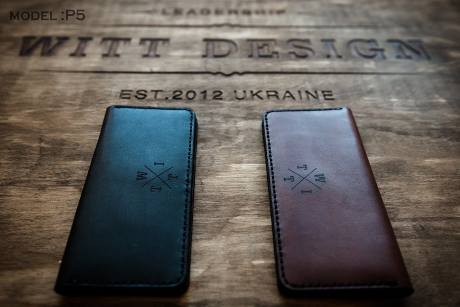 Image of Handmade Black/Brown Wallet P5