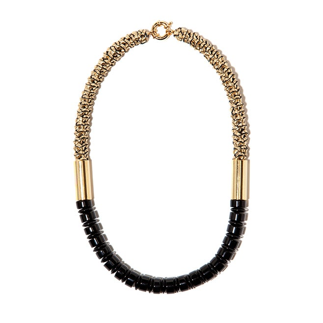 "Image of ""Delta"" Black Agate & Gold Leather Neckpiece"