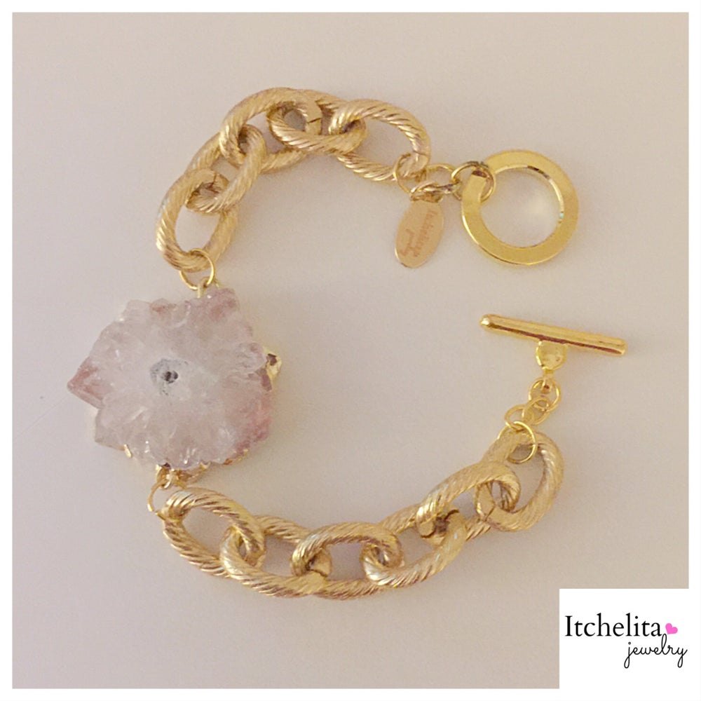Image of Crystal Quartz Stalactite Druzy Bracelet