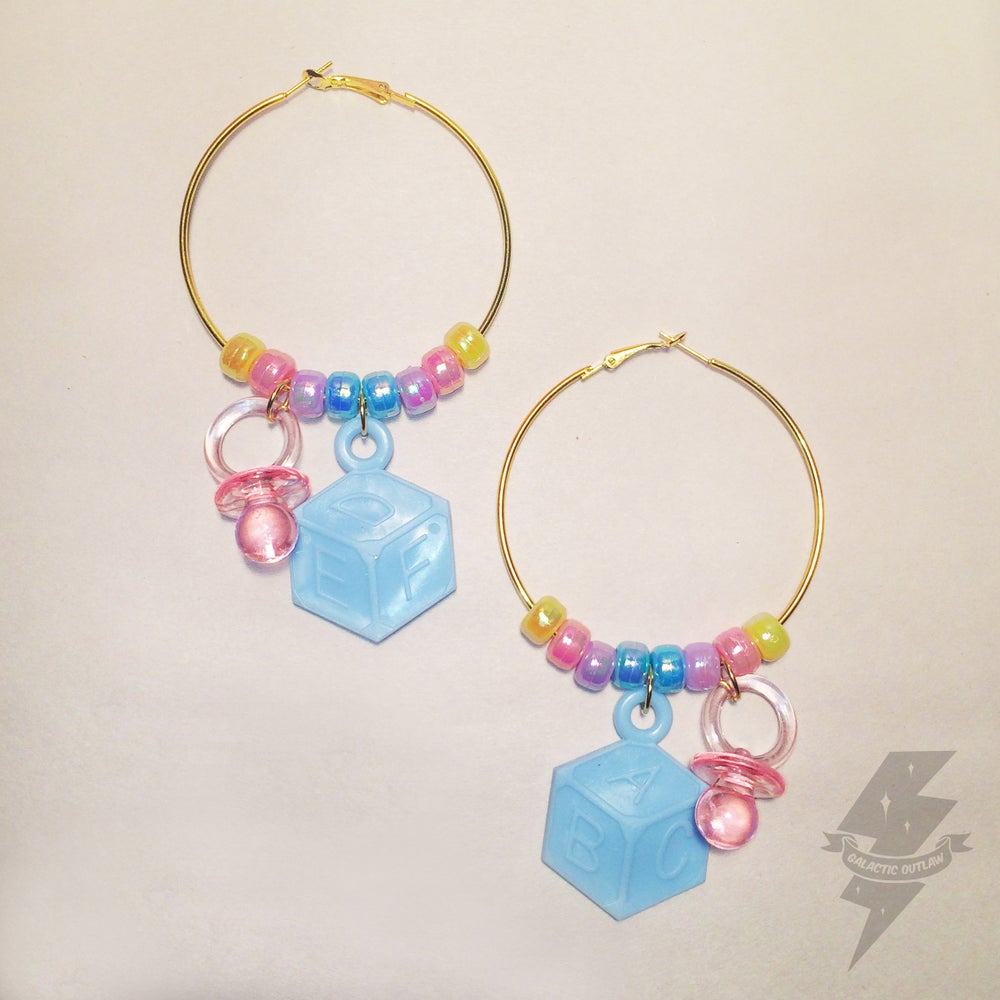 Image of Baby Doll Pastel Gold Hoops