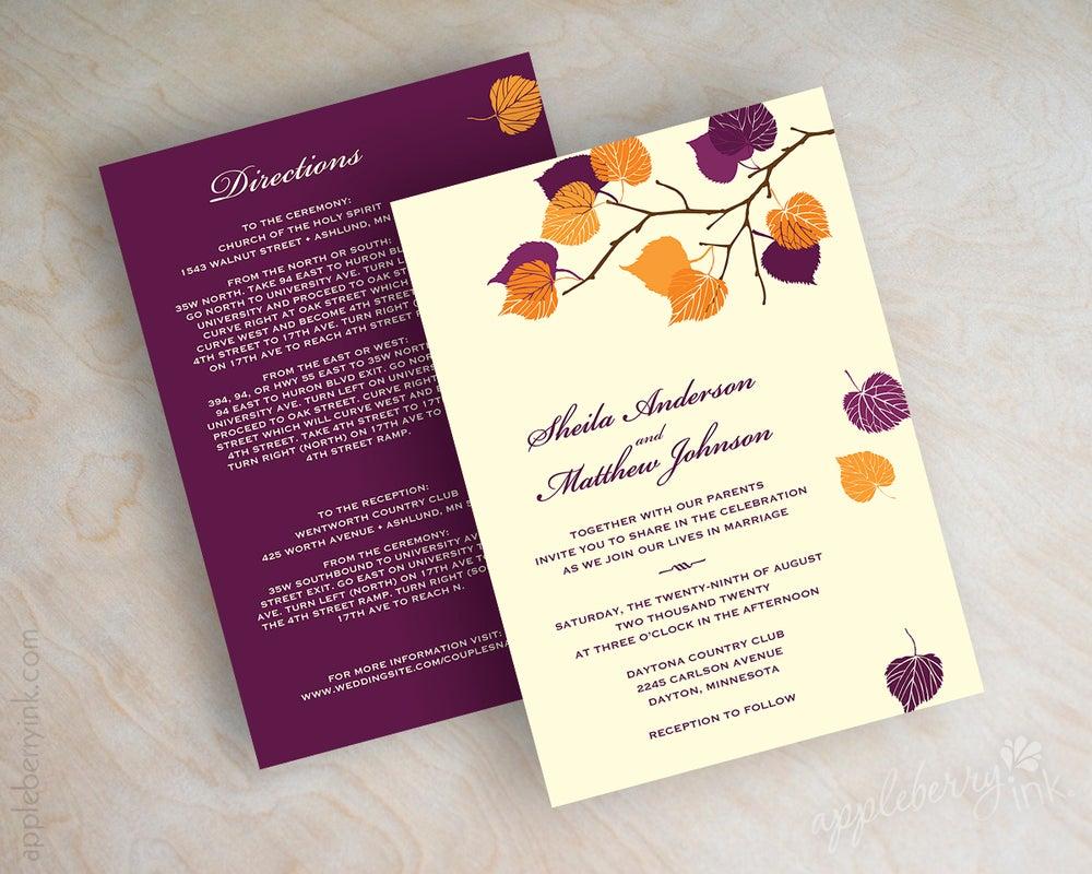 Image of Serena Purple Orange Wedding Invitations