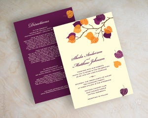 Image of Serena Purple Orange Wedding Invitations