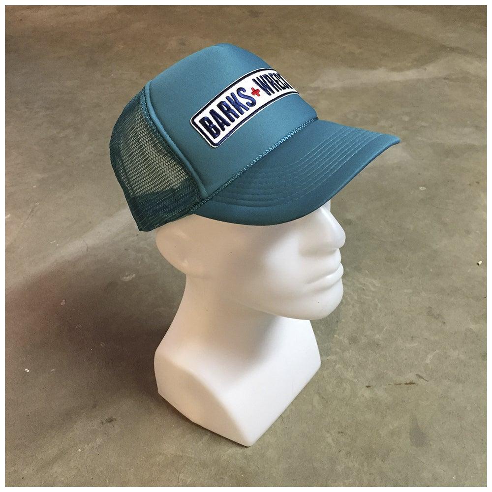 Image of Trucker Hat:  BARKS+WRECK Wordmark