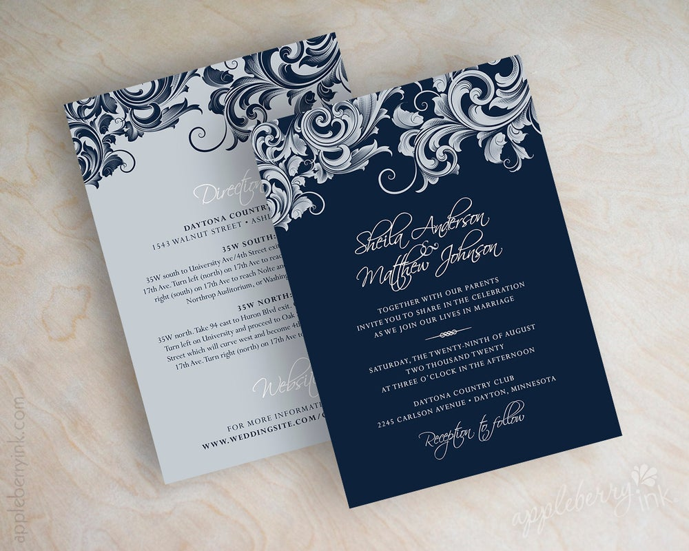 Image Of Jora Navy Silver Wedding Invitations