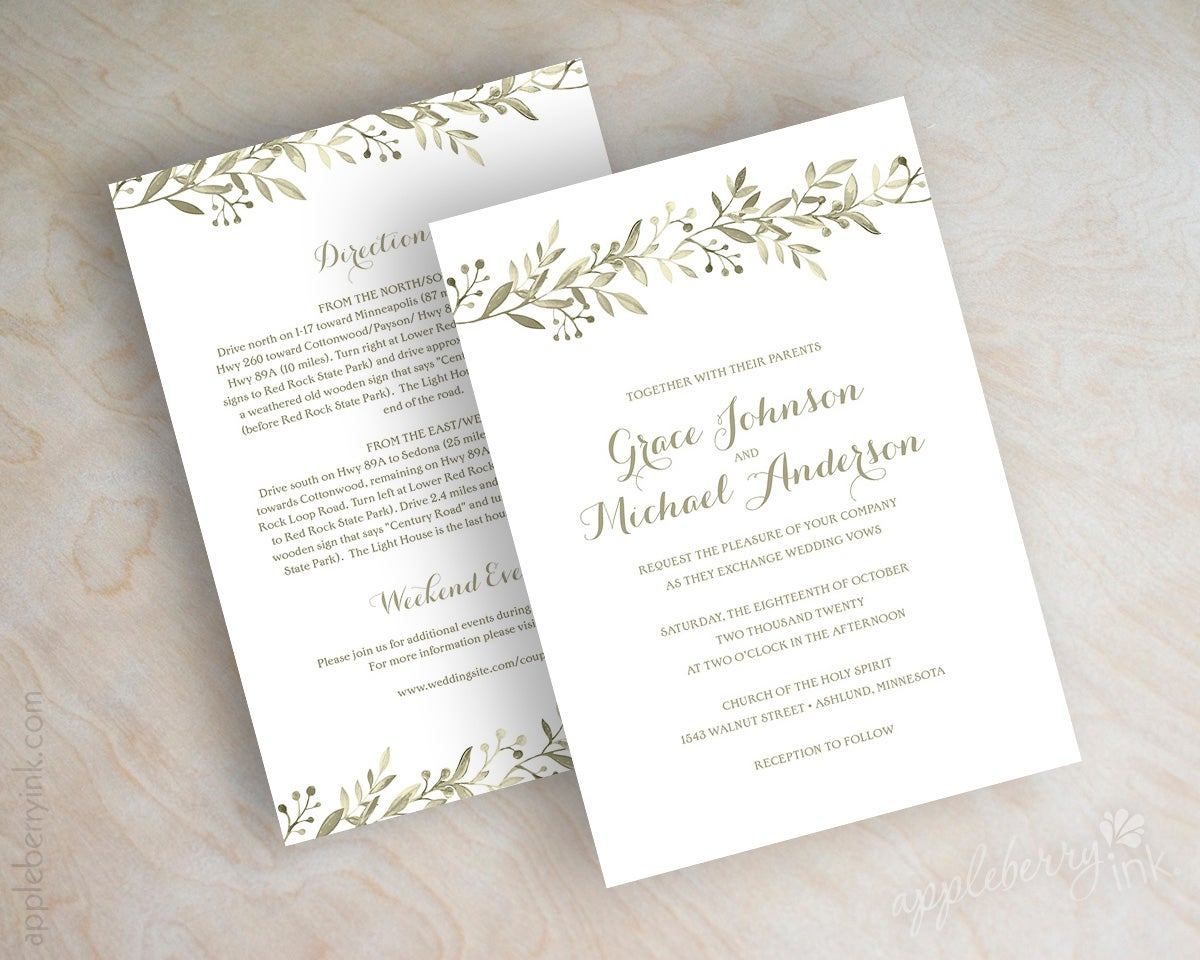 Affordable Wedding Invites: Anne Olive Wedding Invitations / Appleberry Ink