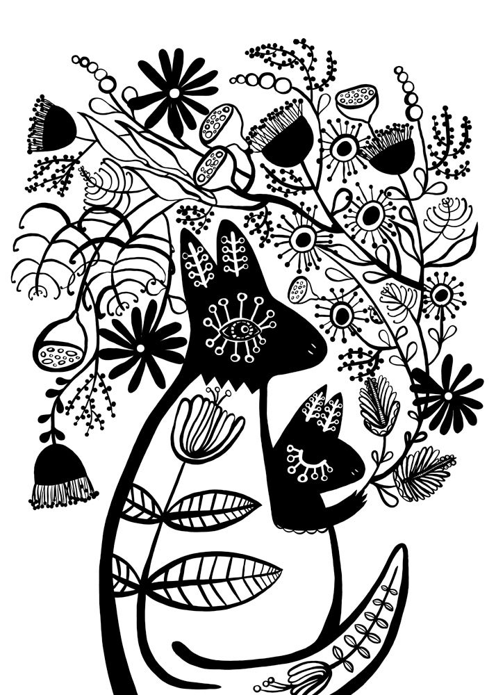 Image of B & W Kangaroo With Florals