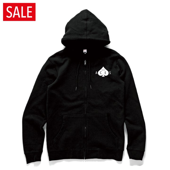 Image of FIFTY ACES LOGO ZIP HOOD BLACK
