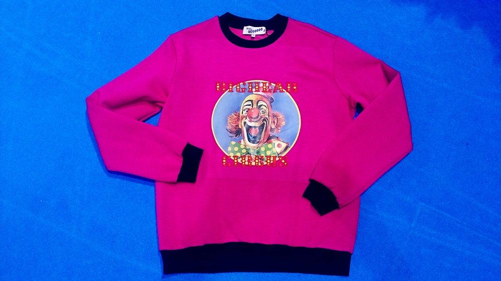 Image of Sudadera payaso Bighead circus rosa. Pink Bighead circus clown sweatshirt
