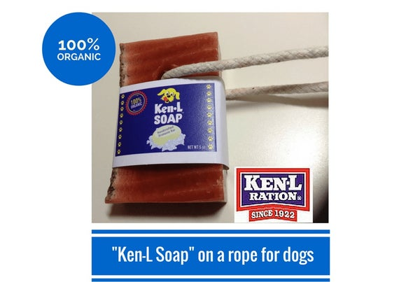 "Image of Ken-L Ration Organic ""Ken-L Soap"" on a rope for Dogs - 5oz Bar (FREE SHIPPING)"