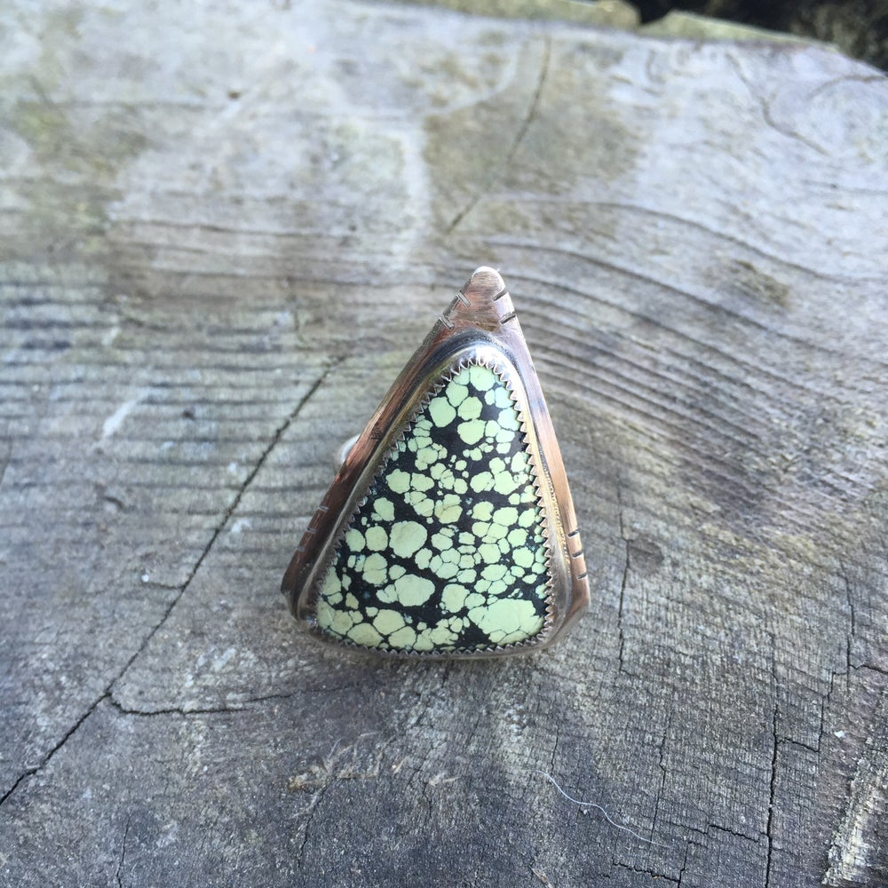 Image of TURQUOISE & SILVER TRIANGLE RING