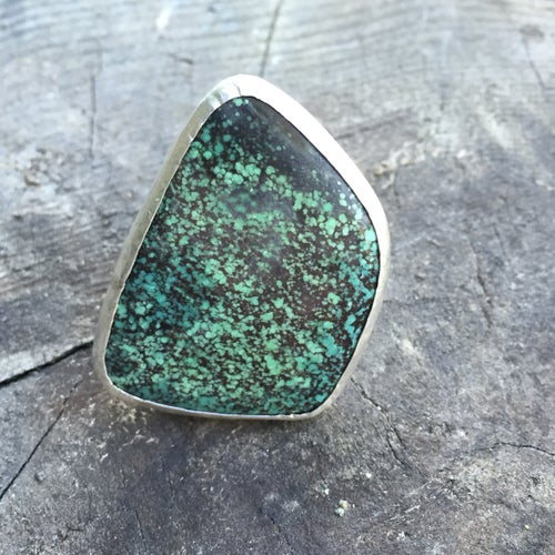 Image of FOUR SIDED TURQUOISE & SILVER DOUBLE RING