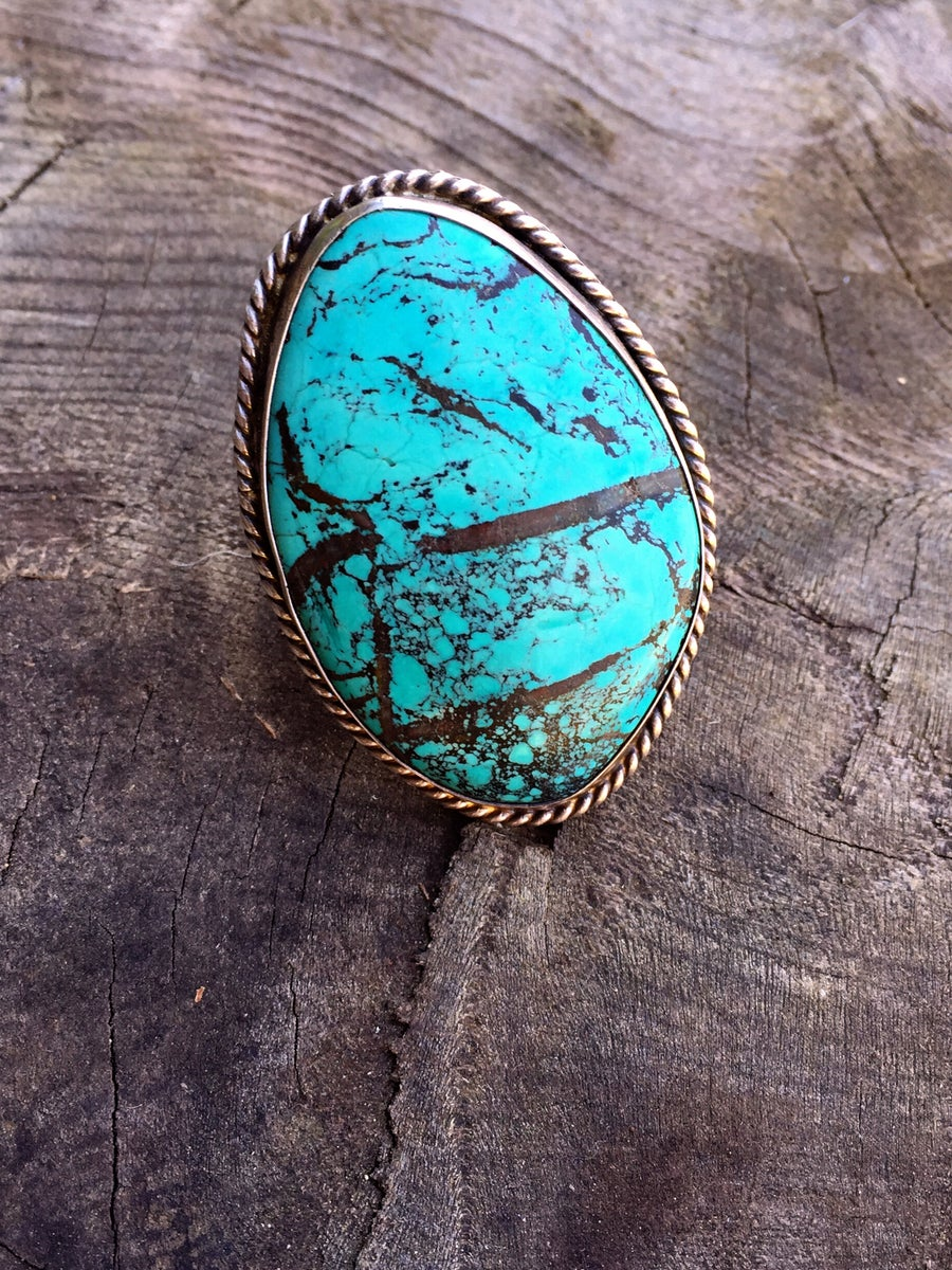 Image of STRIPE TURQUOISE & SILVER RING