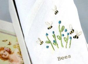 Image of Single lady's handkerchief: Bee & Blue flowers