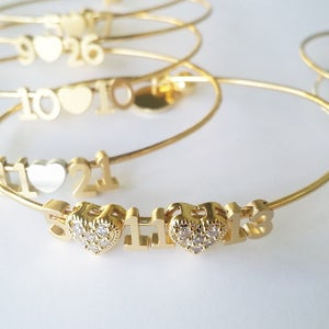 Image of Pave Heart Number Bangle