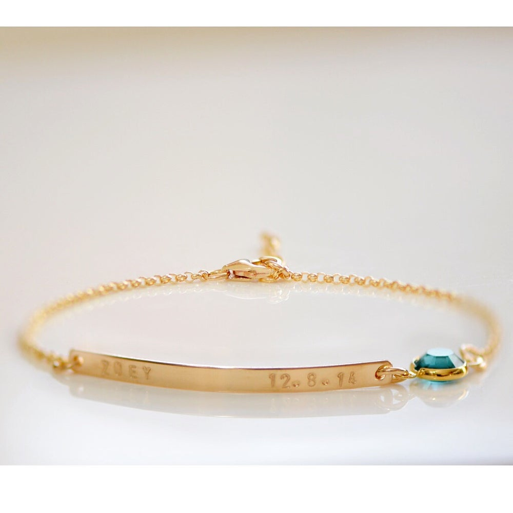 Image of Gold or Sterling Silver Bar with Swarovski Bracelet - Name Plate Bracelet