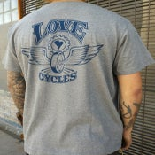 Image of Love Cycles Grey Tee with Original Logo