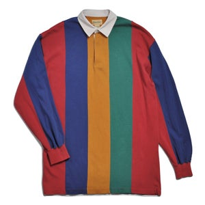 Image of 90s VERTICAL BLOCK STRIPE RUGBY SHIRT