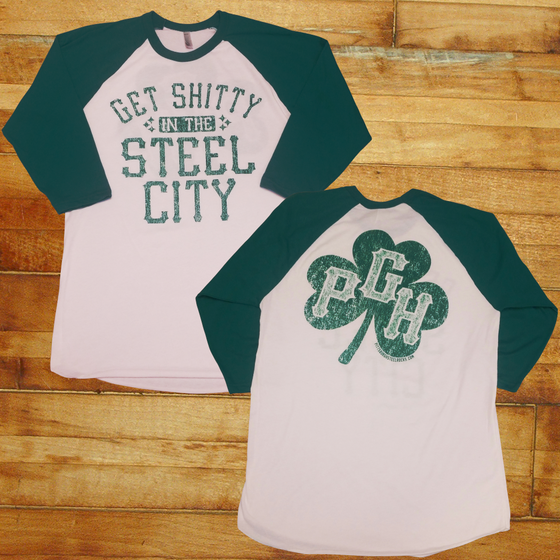 Image of Get Shitty Steel City Basebll Tee