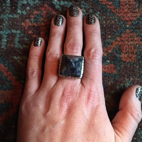 Image of SODALITE & STERLING PYRAMID DOUBLE BAND RING