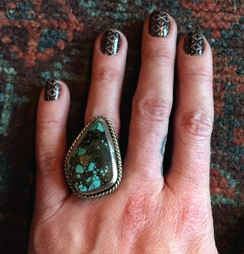 Image of TURQUOISE STERLING & TWISTED WIRE RING