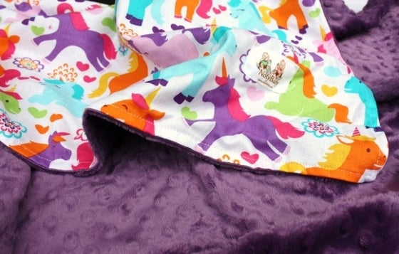 Image of LOVEY/ BABY/ TODDLER/ TEEN BLANKET - UNICORNS WITH VIOLET MINKY