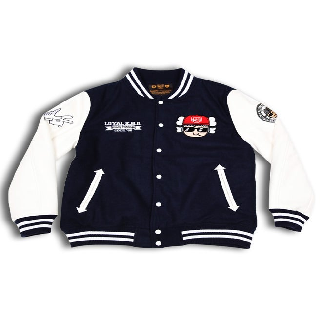 Image of 'Stay Cool Atama' Logo Navy/White Letterman Jacket