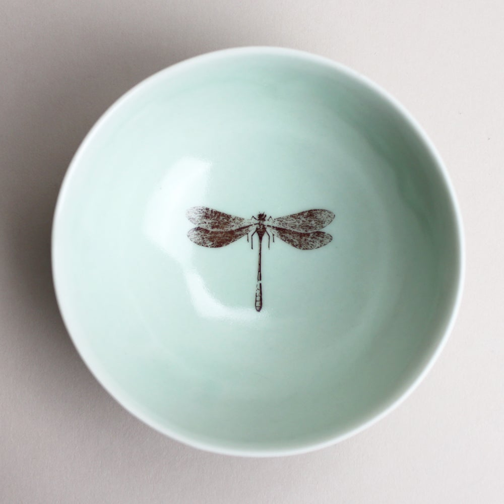Image of roly poly bowl with dragonfly, <br />aqua