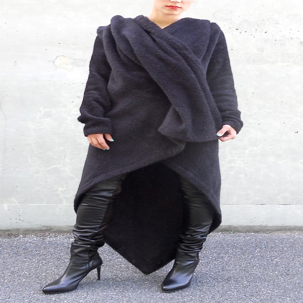 Image of MARIA SEVERYNA Black Alpaca Blanket Wrap Coat with Oversized Hood