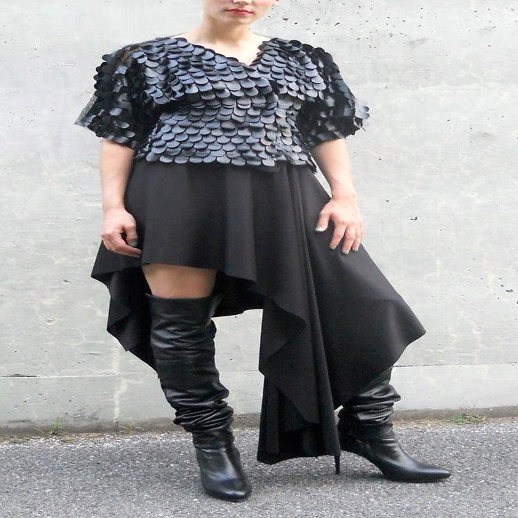 Image of Maria Severyna Black Asymmetric Skirt Shawl Pancho