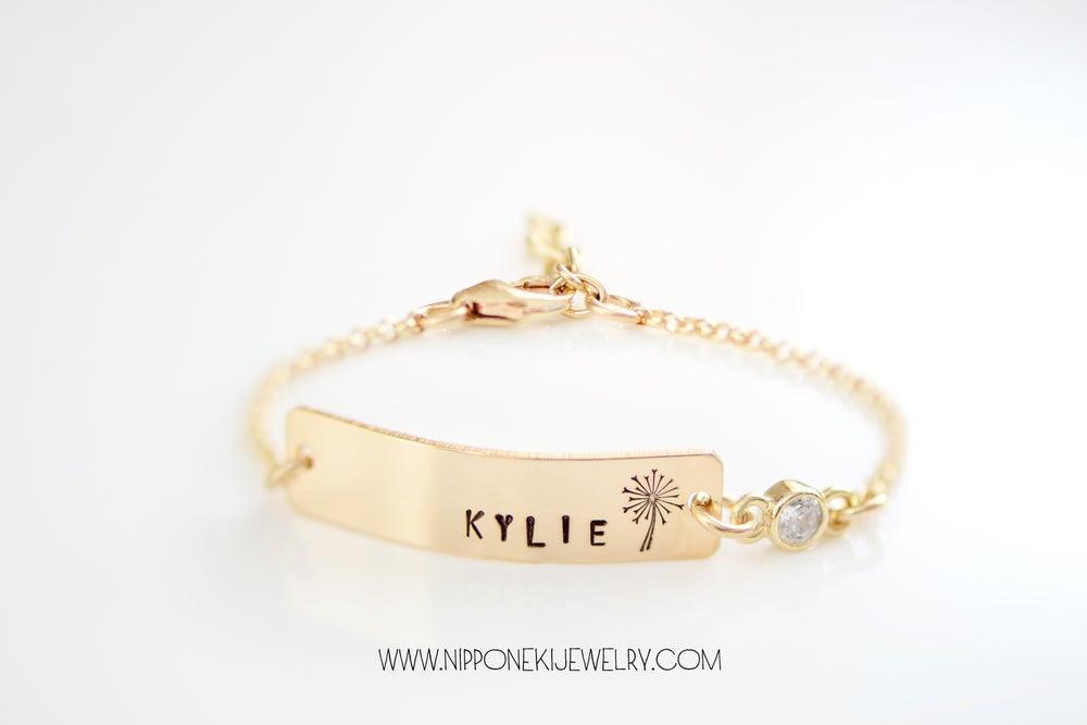 Image of Baby Bar Bracelet , Nameplate Bracelet , Toddler Nameplate Bracelet - Children's Bracelet - Gift