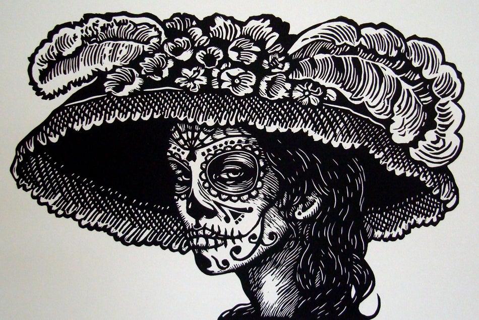 "Image of ""Catrina"" Linocut Print"