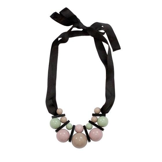 Image of Large celadon&beige necklace