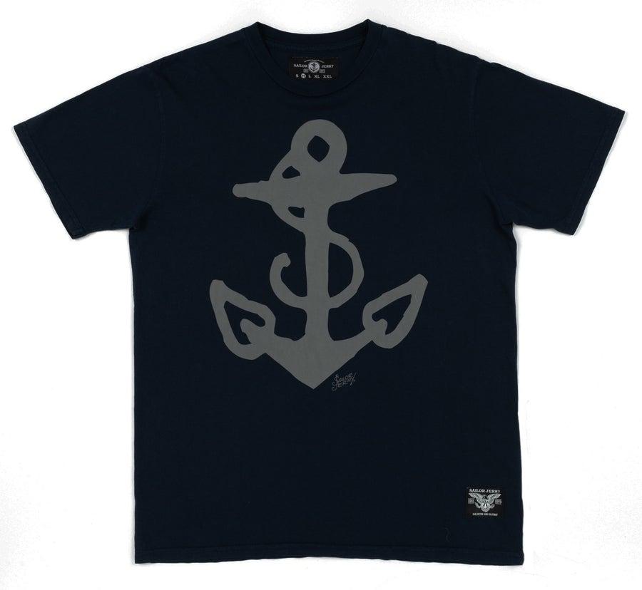 Image of Sailor Jerry Men's T-shirt - Anchor Flash - Navy
