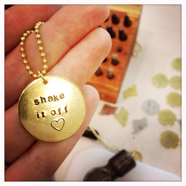 Image of Brass Circle Charm Necklace