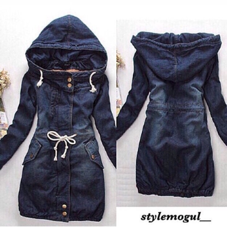 Image of Jean Hooded Trench Jacket