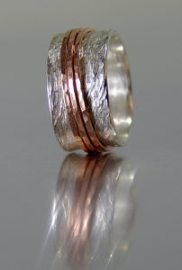 Image of Alternative Engagement Ring, Handmade Silver and 14k SOLID Rose Gold