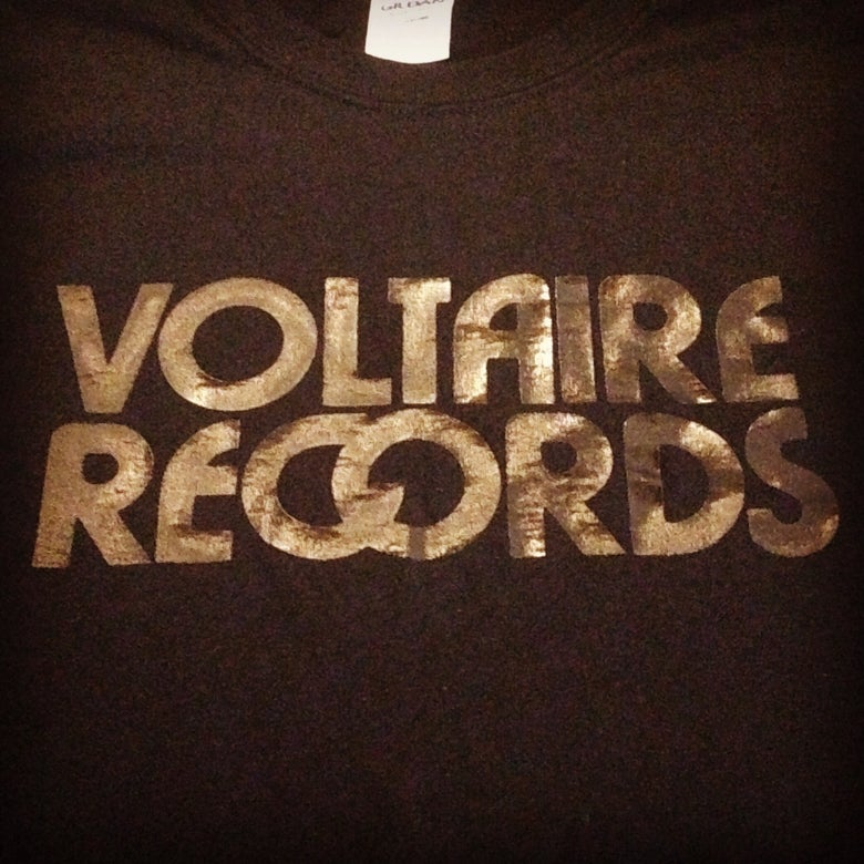 "Image of Voltaire Records T Shirt ""Text"" Logo"