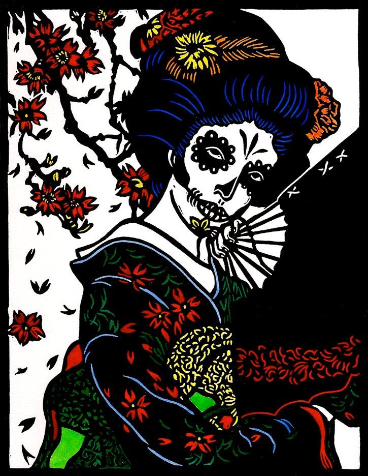 "Image of ""Geisha Calaca"" Linocut Print"