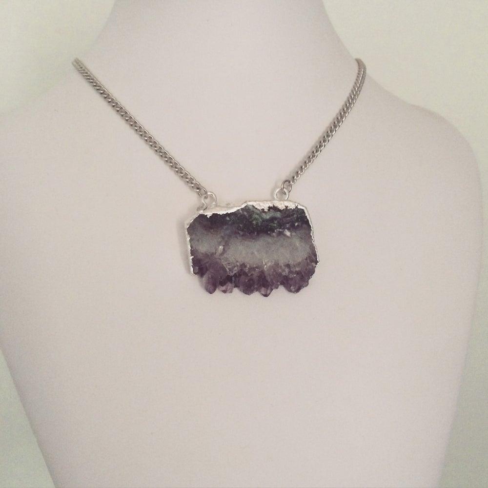 Image of Silver amethyst druzy slice necklace
