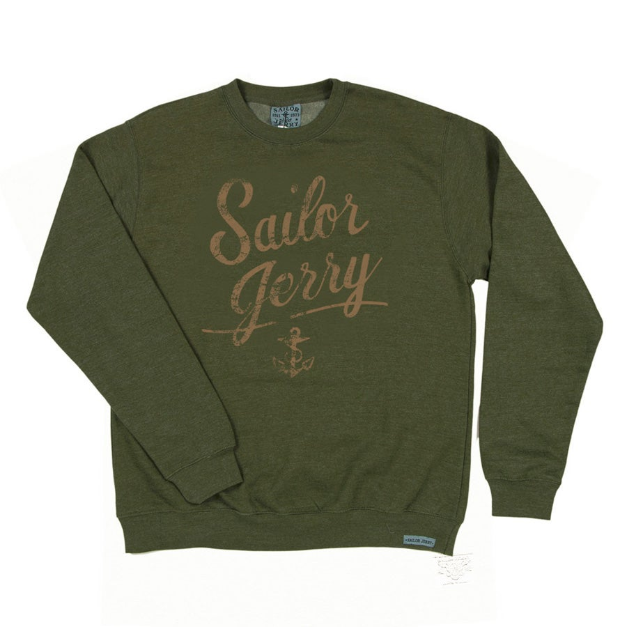 Image of Sailor Jerry Men's Distressed Script Sweatshirt (Camo Green)