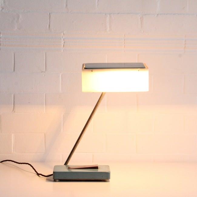 Image of Blue Russian desk light  c 1960,  designer unknown