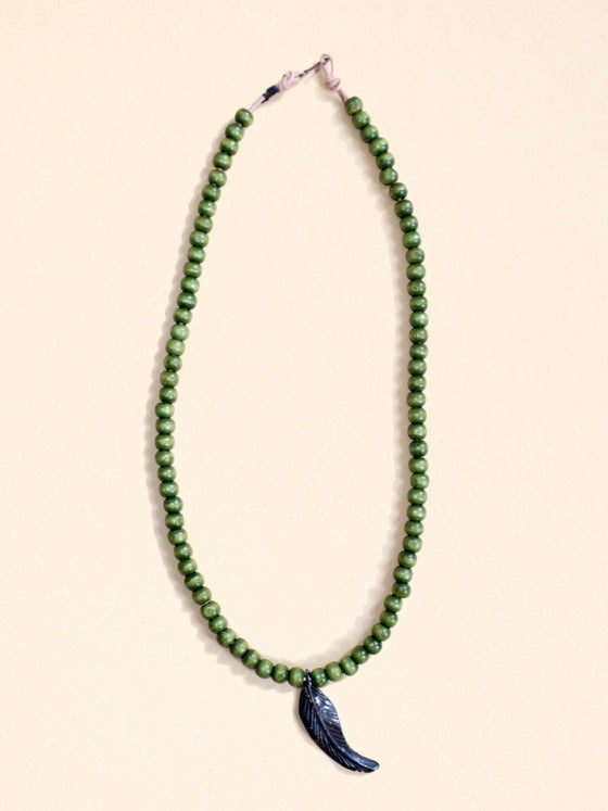 Image of Single Loop Necklace with Feather Pendant
